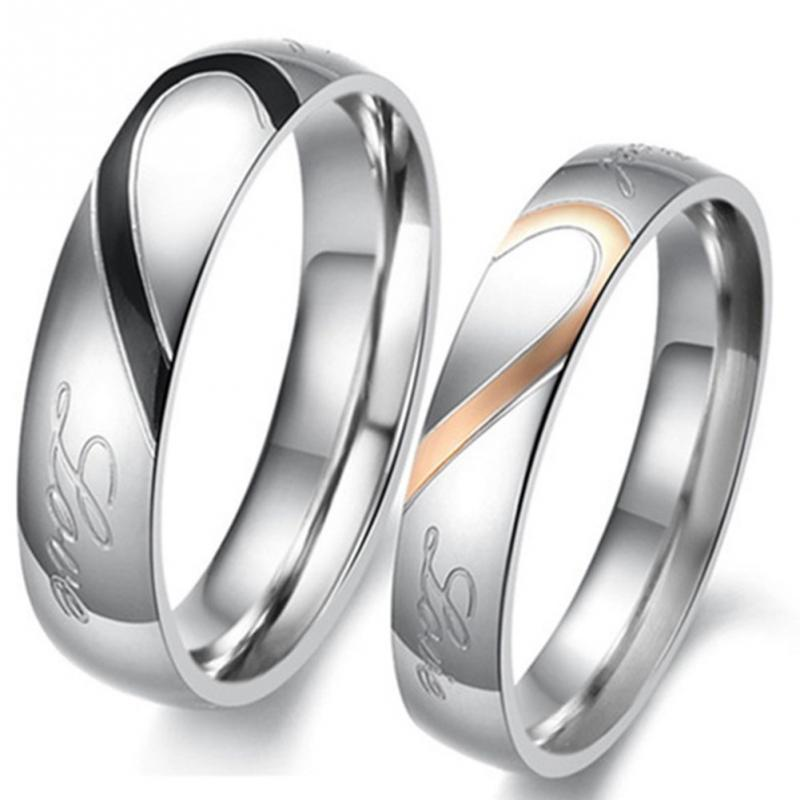 New Heart Shaped Matching Titanium Promise Ring For Couple 316l