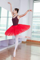 Free Shipping Adult Red Color Ballet Half Tutu Dance Costumes For Sale 8 Layers Hard Tulle