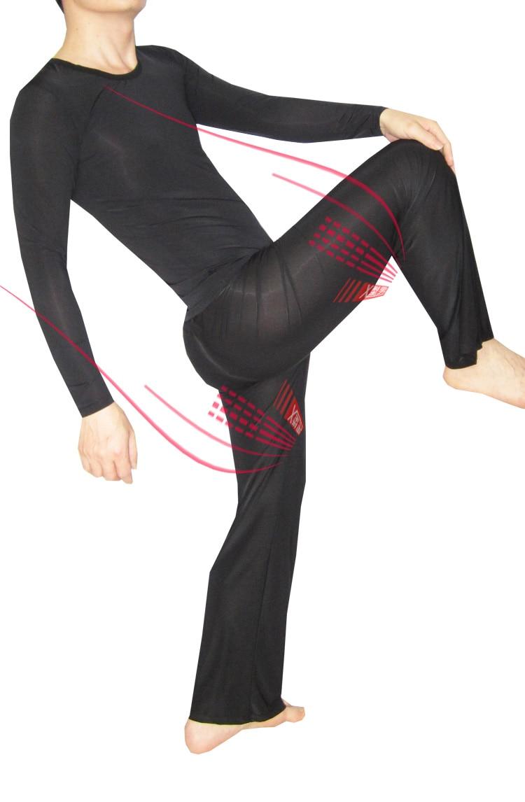 Men Pajamas Set Sexy Home Casual Sleepwear Viscose Ultra-thin Long-sleeve Set Sleepwear Loose Trousers 1589  Underwear Men