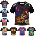 NEW 2016 Boys T-shirts Five Nights At Freddy FNAF Clothes Fireman Sam Children T Shirts Naruto Dragon Ball Costume Kids Top Tees