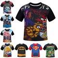 NUEVO 2016 Niños Camisetas Cinco Noches En Freddy FNAF Ropa Bombero Sam Niños Camisetas Naruto Dragon Ball Traje Kids Top Tees