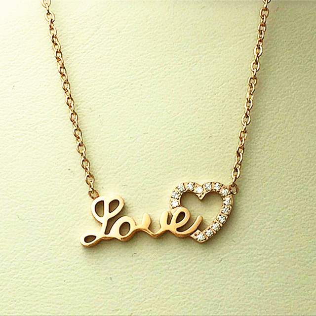 Hot Fashion Crystal Hearts With Hollow Love Word Pendant Women Simple Design Necklace Christmas Gift