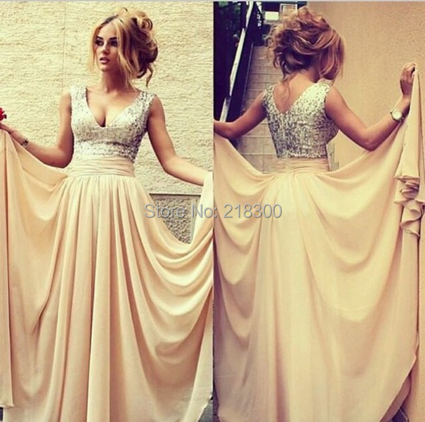 Aliexpress.com : Buy Sequin Top Champagne Chiffon Cheap Prom ...