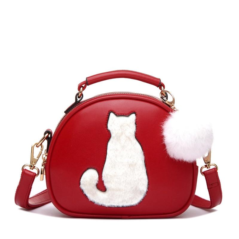 03794aba9329a دائرية صغيرة حقيبة المرأة رسول حقيبة واحدة الكتف السيدات جميل القط الفراء  الكرة الصغيرة crossbody حقيبة عصري pu حقيبة اليد