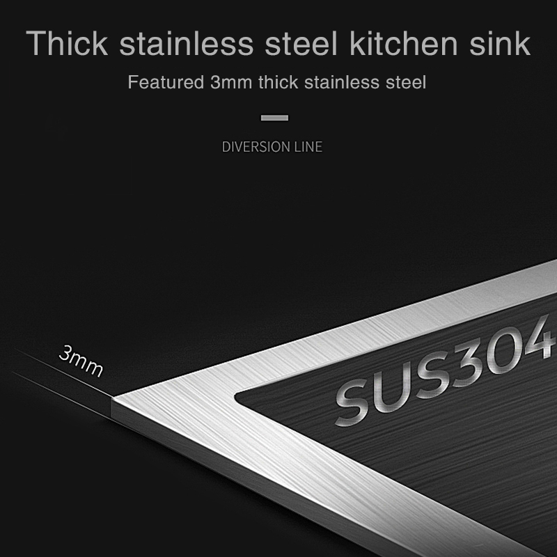 FOHEEL évier de cuisine simple SUS304 évier de cuisine en acier inoxydable unique fente plat bassin 50*45 cm avec panier de vidange et tuyau de vidange - 2