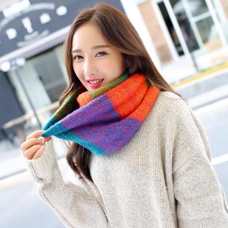 2017 Tube Scarf For Women Winter Warm Knitted Scarves Collar Cachecol Twill Ring Crochet Infinity Scarf