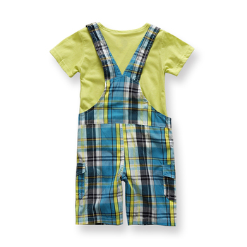 New Born Cheap Imported Baby Boy Clothes Kids Fashion China Infant Clothing Sets Boys Suit Summer Plaid Overall Bib Suit 2pcs 1