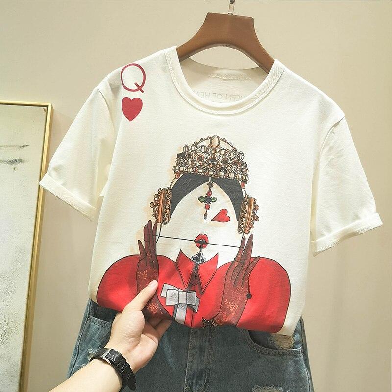 Zuolunouba Playing Cards In Harajuku T Shirt Women New Casual Short Sleeve Summer Tees Tops Loose 1
