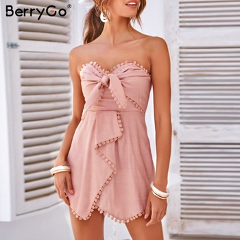 BerryGo Sexy Strapless Cross Tie Embroidery Jumpsuit