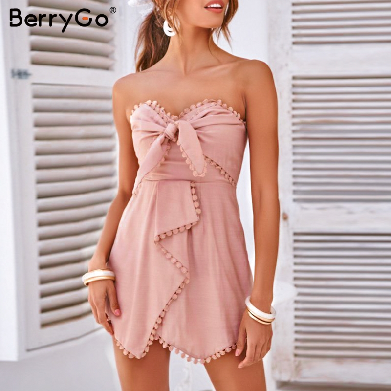 BerryGo Sexy strapless cross tie women playsuit Embroidery pink cotton linen jumpsuit Summer party fashion female overall romper
