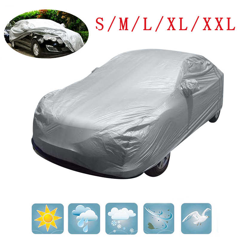 Universal Full Car Snow Ice Rain Sun UV Rain Shade Cover Silver Size S-XL Auto Car Outdoor Protector Accessories
