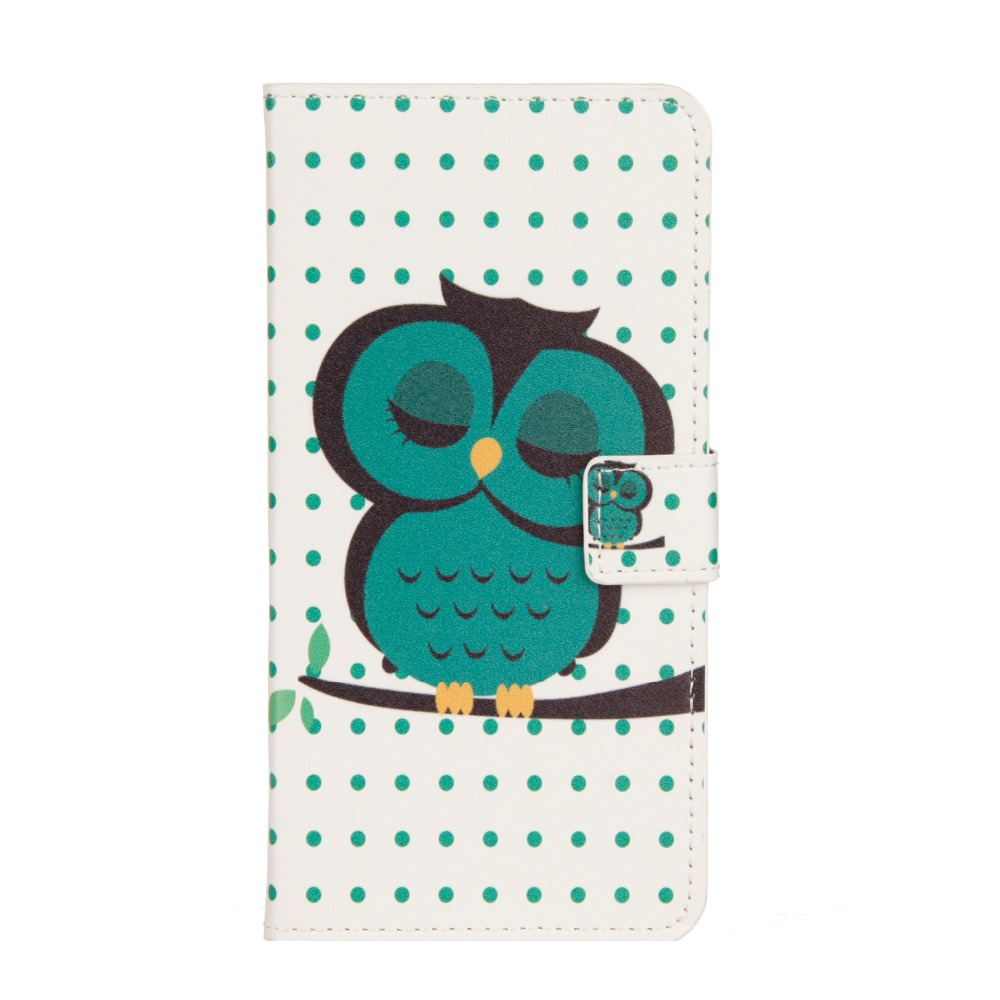 Luxury Wallet Case Phone Cover Flip Case for WIKO GOA , FREDDY ,Tommy 2 PU Leather Shell Sleepy Owl Tower PROTECTIVE shell