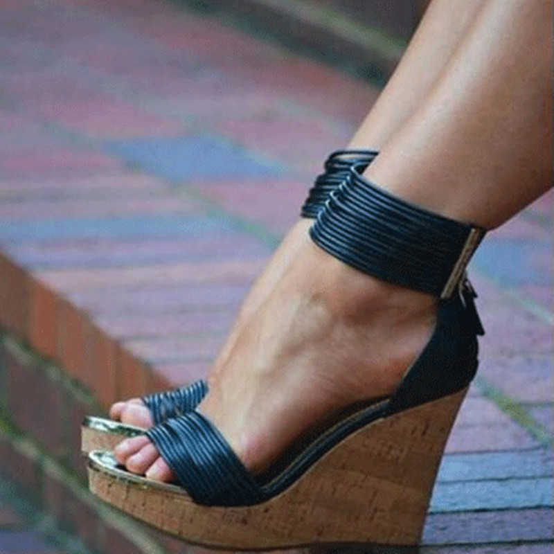 Cm Y Alto 45 Sandalias 13 Tamaño Mujer Tacón Elegante De Zapatos Gratis 34 Negro Shofoo Cinta Envío Negra wFvq71qx
