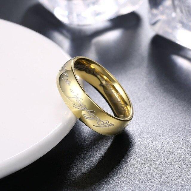 a64586e3c6d5 Boda de oro Anillos para hombres aros bague Homme Vintage anillo de acero  inoxidable regalos bijouterie