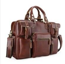 Genuine Leather Bags Fashion Men Handbags Crazy Horse Leather Crossbody Bag brands  Men's Travel Bags Briefcase Bag for Man стоимость