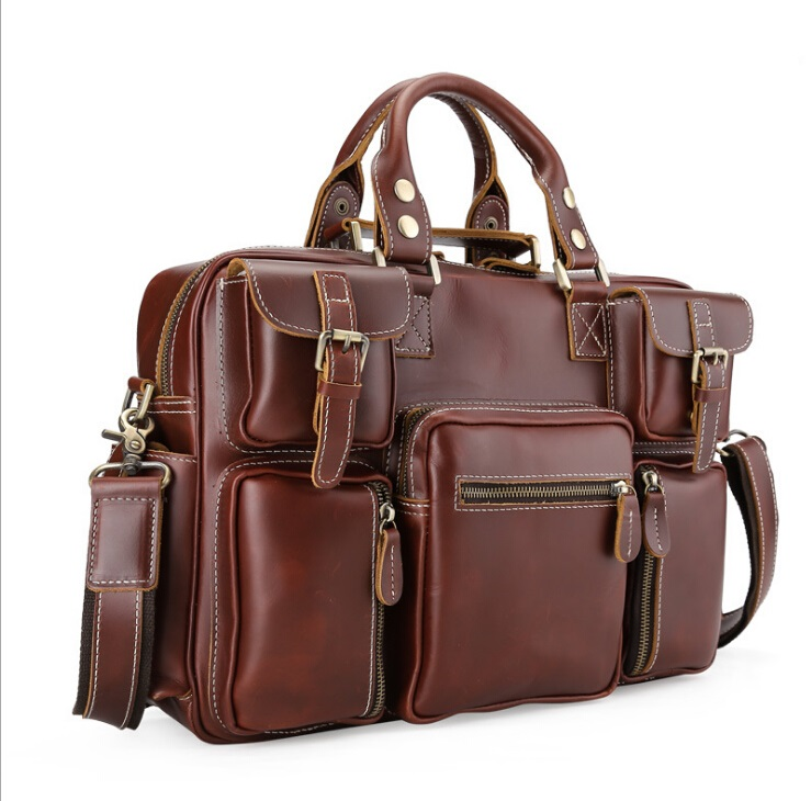 Genuine Leather Bags Fashion Men Handbags Crazy Horse Leather Crossbody Bag brands Mens Travel Bags Briefcase Bag for Man