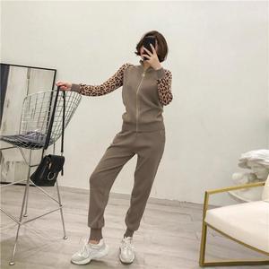 Image 4 - Kobiety dresy nowy 2019 wiosna dzianiny zestawy dwuczęściowe Slim Zipper Cardigans kurtka + długie spodnie garnitury kobieta Leopard Sportsuits