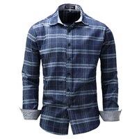 ROSICIL Đến Người Đàn Ông của Áo Sơ Mi Thời Trang Denim Shirts Casual Stylish Jean Tops Mềm Dài Tay Chất Liệu Mens Kẻ Sọc Áo Cộng Với kích thước