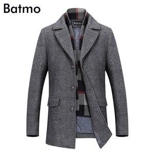 Image 2 - Batmo 2019 חדש הגעה חורף באיכות גבוהה צמר מזדמן אפור תעלת מעיל גברים, גברים של חורף מעיל חם, חורף מעילי גברים 823