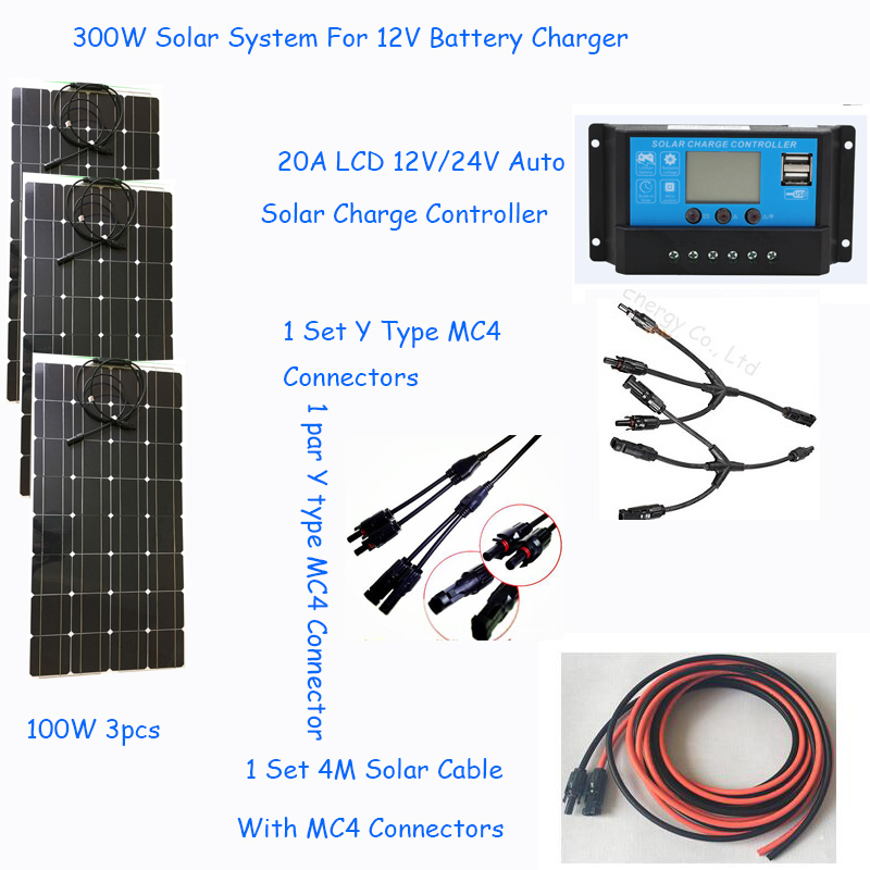 solar panel 300w home solar system photovoltaic 100w 3pcs flexible solar panel kit panel solar 300w power system for 12V battery-in Solar Energy Systems from Consumer Electronics    1