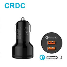 CRDC Car Charger 36W 2 Ports Support Quick Charge 3.0,USB Fast Car-Charger For iPhone Samsung Galaxy s8 Xiaomi Car Phone Charger(China)