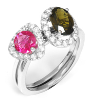 JewelryPalace Fashion Multicolor Genuine Tourmaline Ring 925 Sterling Silver For Mother And Daughter As Beatuiful Gifts New