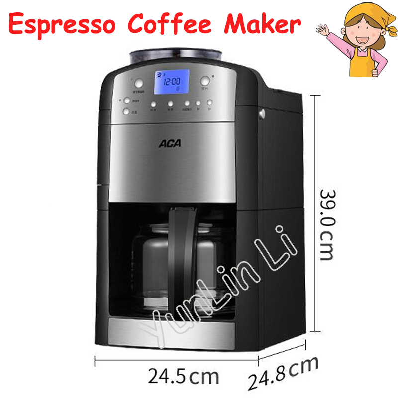 Automatic Espresso Coffee Maker 1.25L Home Office Coffee Machine Ground Coffee Beans + Coffee+ Insulation AC-M125A korea brand sn 3035 automatic espresso machine coffee maker with grind bean and froth milk for home
