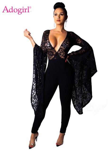5d88c55924 Adogirl Super Big Flare Sleeve Sheer Lace Jumpsuit Women Sexy Deep V Neck  Romper Night Club