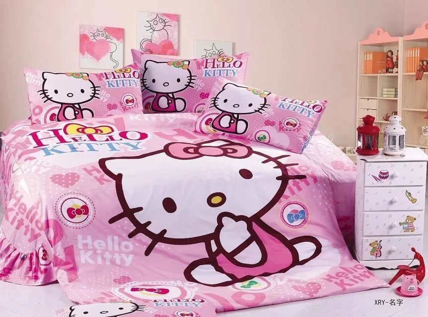 Hello Kitty Cartoon Bedding Sets Girlu0027s Kids Bedroom Decoration Single Twin  Size Bedclothes Quilt Duvet Covers