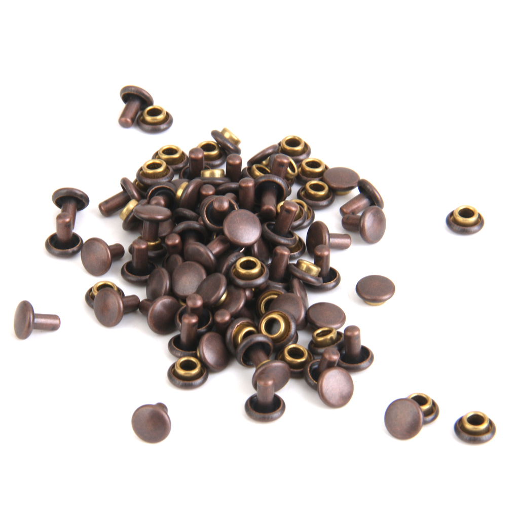 New Hot DIY Jeans Copper Dual Head Craft Rivets 6 x 7mm Pack of 50Pcs Brass Rock Band Clothes Toys Garments Sewing Accessor Gift