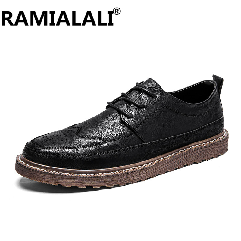 RAMIALALI Genuine Leather Men Winter Shoes Quality Black Men Boots Real Leather Male Boots Fashion Brand Men Shoes Winter Boots