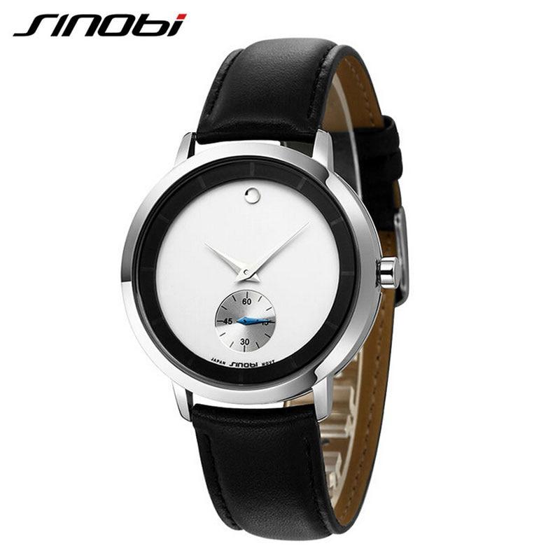 SINOBI Leather Watches Men Luxury Brand New Fashion Men's Boutique Simple Style Quartz-watch Male Wristwatch Relogio Masculino