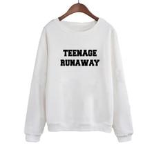 Women Tops Moletom Tumblr Tracksuit Teenage Runaway Harajuku Slogan Print Round Neck Pullover White Black Hoodie