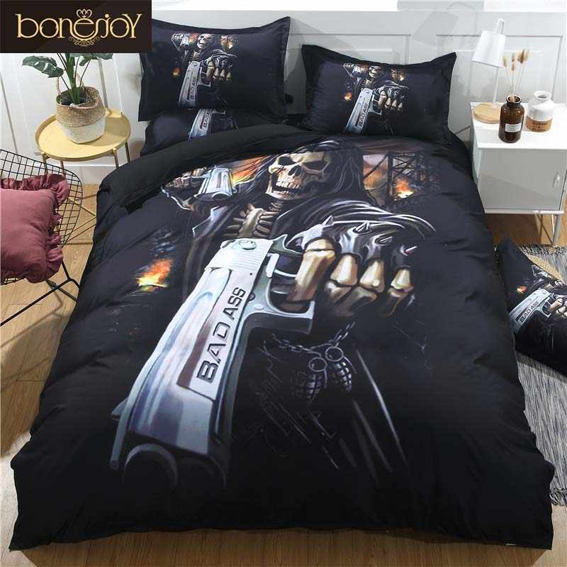 Bonenjoy Black Skull Bedding Set Duvet Cover King Size Skull Bed Sheet Set Queen Size Pistol Skull Quilt Cover Pillowcase Sets