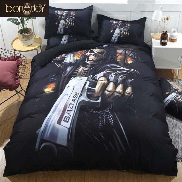 Bonenjoy Black Skull Bedding Set Duvet Cover King Size Skull Bed Sheet Set  Queen Size Pistol