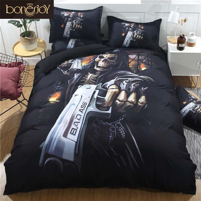 Bonenjoy Black Skull Bedding Set Duvet Cover King Size Skull Bed Sheet Set Queen Size Pistol Skull Quilt Cover Pillowcase Sets