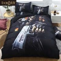 648bba75cd Bonenjoy Black Skull Bedding Set Duvet Cover King Size Skull Bed Sheet Set  Queen Size Pistol