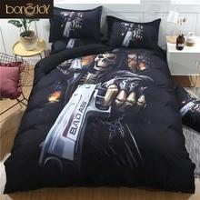 Conjunto de ropa de cama de calavera negra Bonenjoy funda de edredón talla King Skull juego de sábanas tamaño Queen Pistol Skull colcha funda de almohada