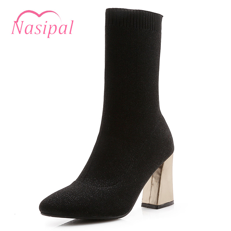 Nasipal Stretch Sock Boots Fashion Autumn Winter Mid Calf Boots Black Brown Big Size 33-46 Women's Shoes Thick High Heel Shoes stretch lycra womens knee high boots thick mid heel long riding boots shoes winter autumn boots black beige wine dark gray