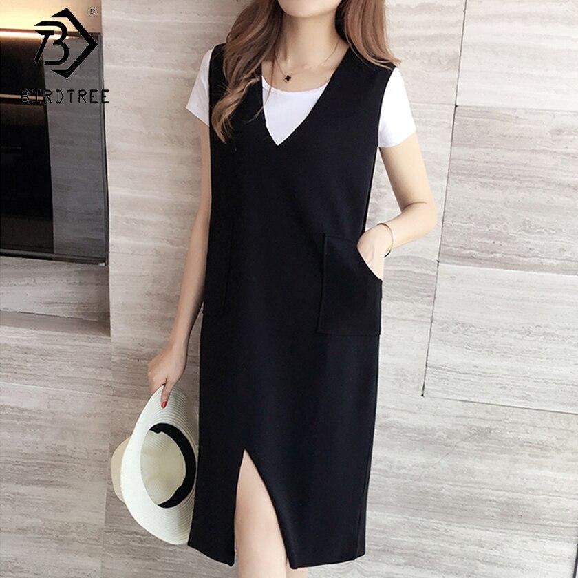 US $12.91 30% OFF|2019 Women\'s Plus Size Straight Dress Summer New Pockets  Split High Waist Sleeveless Elegance V Neck Solid Sweet Dress D8D720C-in ...