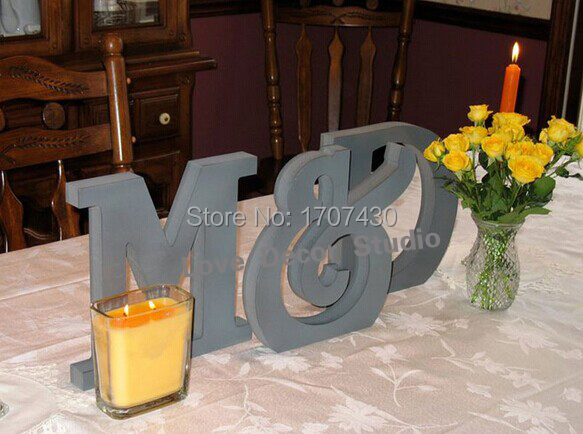 just married wedding sign mr mrs script wooden letters wedding table decoration
