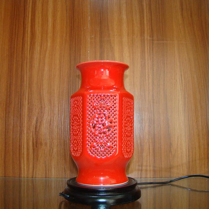 Vase Lampe Ingdezhen Chinesisches Porzellan Keramik Tischlampe Vintage Dekorative Nacht Wohnzimmer Hochzeit RotChina