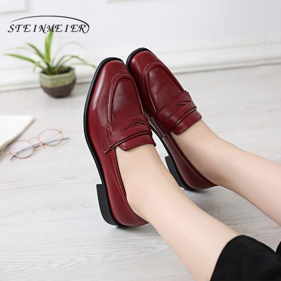 100% Echtes Kuh Leder Casual Designer Vintage Dame Wohnungen Schuhe Handgemachte Oxford Schuhe Für Frauen 2018 Schwarz Rot Mit Pelz Letzter Stil