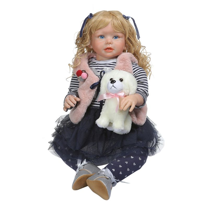 28in Realistic Reborn Doll Soft Silicone Vinyl Newborn Babies Girl Princess Dog Lifelike Handmade Toy Children Birthday Christm