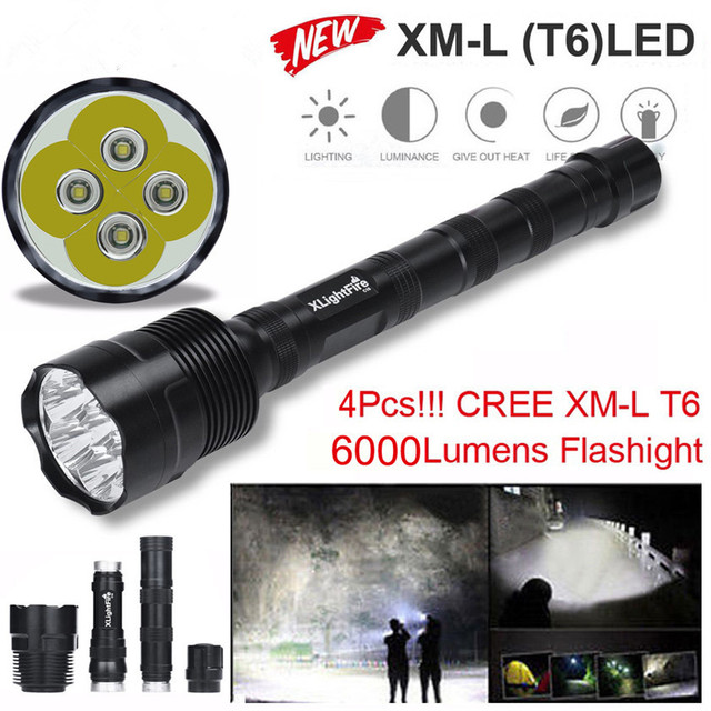 High Quality 4X XML T6 LED 6000LM Extended Tactical Flashlight Waterproof LED Torch