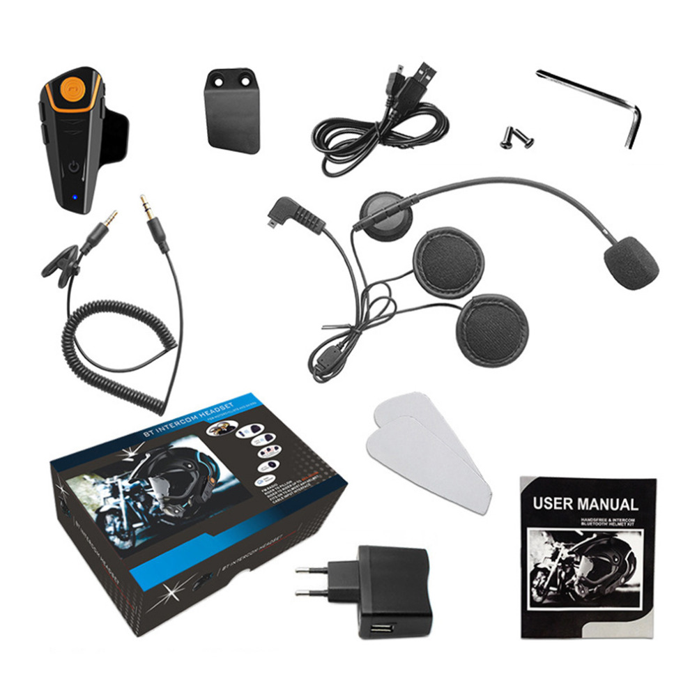 Practical Waterproof Motorcycle Wireless Bluetooth Helmet Intercom Interphone Headset with FM Radio Helmet Headset