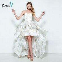 Dressv sweetheart A-line homecoming dress printing sleeveless asymmetry short front long back homecoming dress cocktail dress