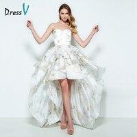 DressV Милая Line Homecoming платье без рукавов с принтом асимметрия короткое спереди и длинное сзади Homecoming платье коктейльное платье