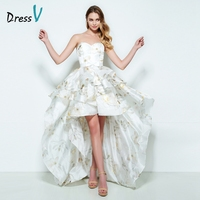 Dressv sweetheart A line homecoming dress printing sleeveless asymmetry short front long back homecoming dress cocktail dress