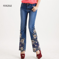 Jeans Women High Waist Blue Manual Embroidered Flares Pants Hand Beads Bell Bottom Stretch Slim Denim Ladies Mom Jeans